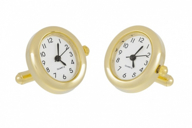 Oval Gold Working Watch Cufflinks